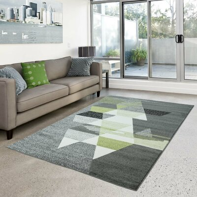 Galusha Gray/Green Area Rug Rug Size: Rectangle 63 x 93