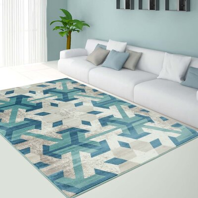 Crider Irish Snowflake Teal/Ivory Area Rug Rug Size: Rectangle 53 x 76