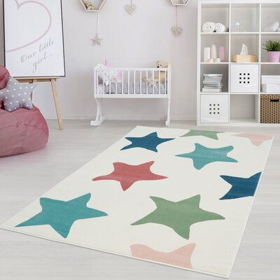 Shamar Star Blue/Green Area Rug Rug Size: 53 x 75