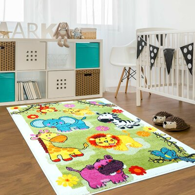 Jodie Kids Animal Green Area Rug Rug Size: Rectangle 77 x 10 3