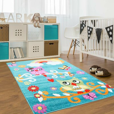Jodie Kids Owl Turquoise Area Rug Rug Size: Rectangle 53 x 75