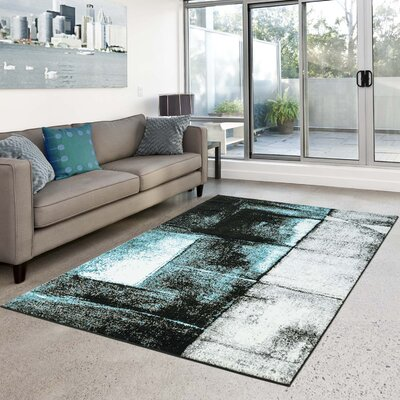 Summer Turkish Turquoise/Black Area Rug Rug Size: 311 x 53