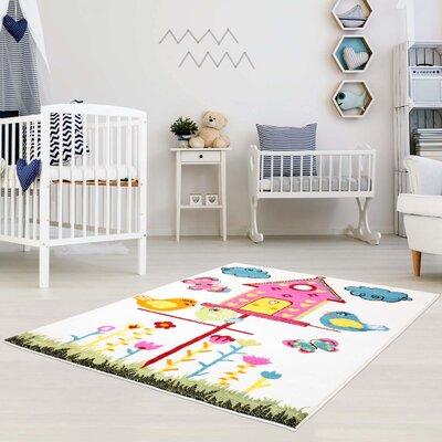 Jodie Kids Bird Pink/Blue Area Rug Rug Size: 53 x 75