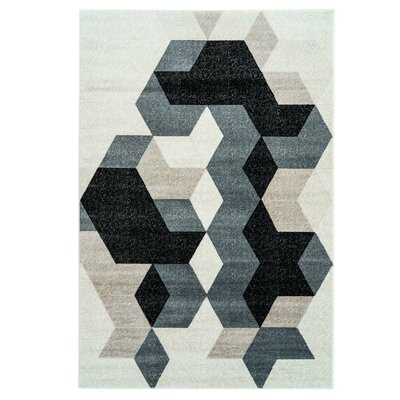 Gaiser Sultan Geometric Black/Gray Area Rug Rug Size: Rectangle 53 x 76