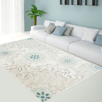 Bannerdown Lily Floral Cream/Green Area Rug Rug Size: 311 x 53