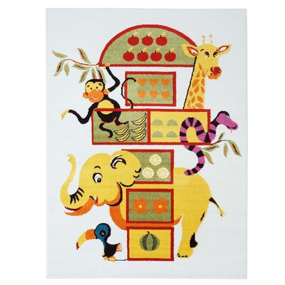 Jodie Kids Elephant Yellow Area Rug Rug Size: 63 x 93