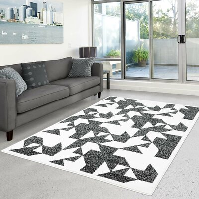Crosland Gray/Ivory Area Rug Rug Size: Rectangle 63 x 93
