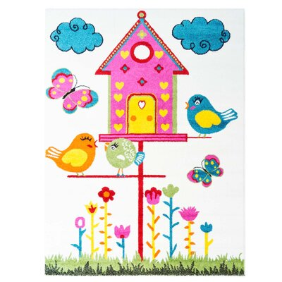 Jodie Kids Bird Pink/Blue Area Rug Rug Size: 311 x 53
