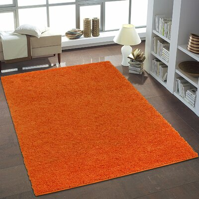 Shaggy Fine Orange Area Rug Rug Size: 39 x 55