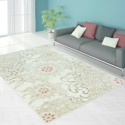 Bannerdown Lily Floral Gray/Cream Area Rug Rug Size: 63 x 93