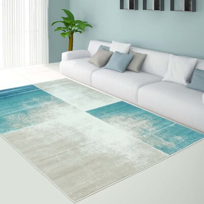 Bannerdown Dunya Teal/Cream Area Rug Rug Size: 63 x 93