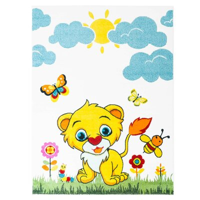 Jodie Kids Lion Yellow/Blue Area Rug Rug Size: 53 x 75