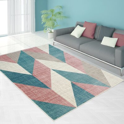 Gaiter Vintage Chevron Teal/Pink Area Rug Rug Size: Rectangle 53 x 76