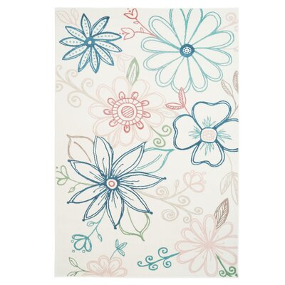 Crick Daisy Cream/Blue Area Rug Rug Size: Rectangle 53 x 76