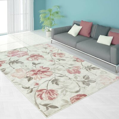 Arlo Begonia Floral Pink Area Rug Rug Size: Rectangle 52 x 75