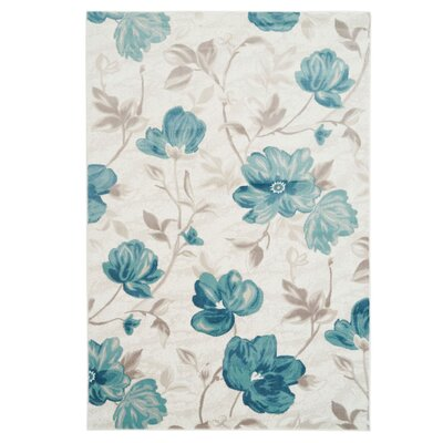 Arlo Begonia Floral Blue Area Rug Rug Size: Rectangle 52 x 75
