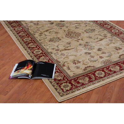 Austell Cream/Red Area Rug Rug Size: 52 x 75