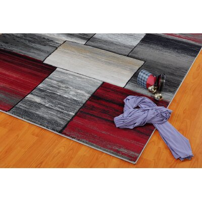 Owen Currant Red/Gray Area Rug Rug Size: 65 x 95