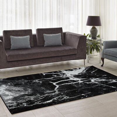 Anise Black/White Area Rug Rug Size: Runner 27 x 910