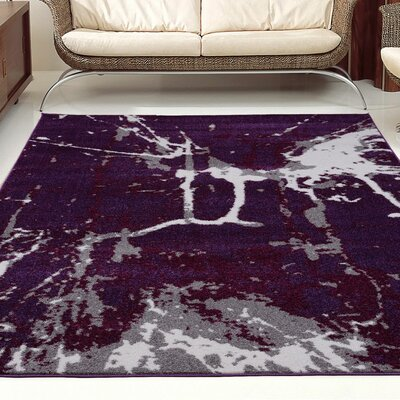 Anise Dark Violet/Gray Area Rug Rug Size: 52 x 75