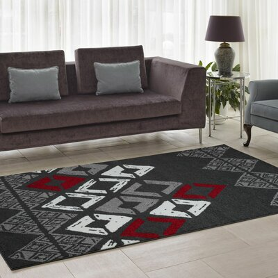Flash Gray Geometric Area Rug Rug Size: 39 x 55