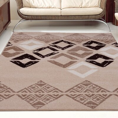 Flash Caramel Geometric Area Rug Rug Size: 5'2
