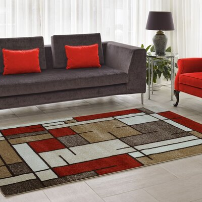 Joy Red/Brown Area Rug Rug Size: 39 x 55