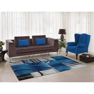 Collier Blue/Gray Area Rug Rug Size: 52 x 75