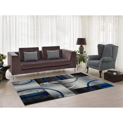 Collier Dark Gray/Blue Area Rug Rug Size: 27 x 411