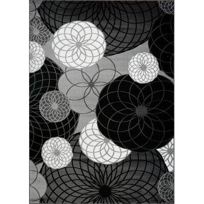 Kasen Circles Black/Gray Area Rug Rug Size: 53 x 75