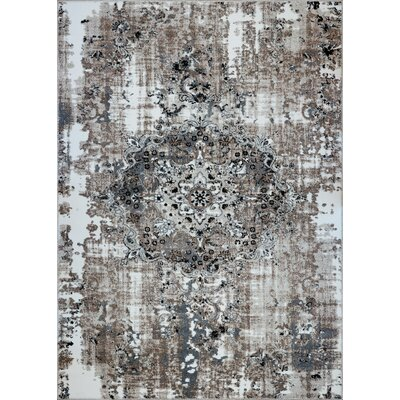 Bullace Machine Woven Gray Area Rug Rug Size: Rectangle 53 x 75
