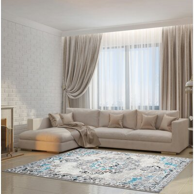 Longboat Key Machine Woven Gray Area Rug Rug Size: Rectangle 53 x 75
