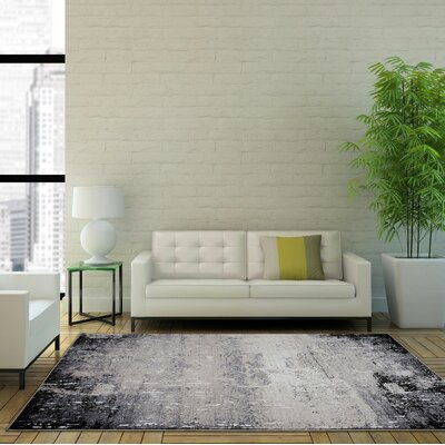 Nishan Machine Woven Gray Area Rug Rug Size: Rectangle 53 x 75