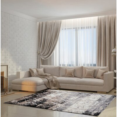 Anitra Machine Woven Gray Area Rug Rug Size: Rectangle 53 x 75