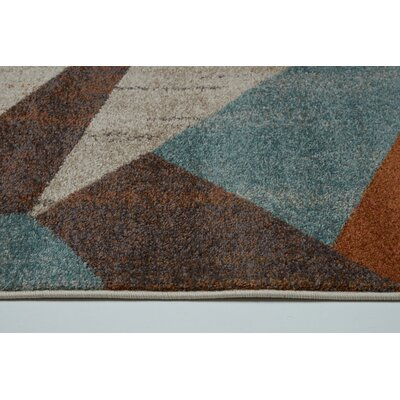 Vogler Cream/Brown/Blue Area Rug Rug Size: Rectangle 27 x 411