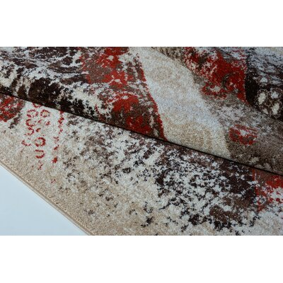 Voigt Cream/Brown/Blue Area Rug Rug Size: Rectangle 27 x 411
