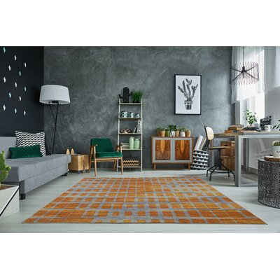 Pinheiro Gray/Orange Area Rug Rug Size: Rectangle 65 x� 95