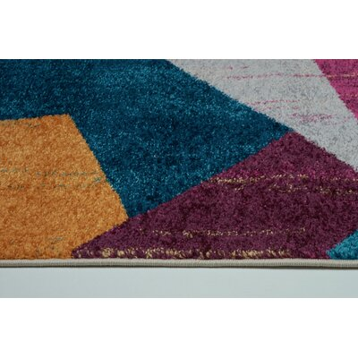 Volker Yellow/Blue Area Rug Rug Size: Rectangle 52 x 75