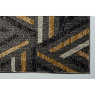 Ramage Gray/Gold Area Rug Rug Size: 27 x 10