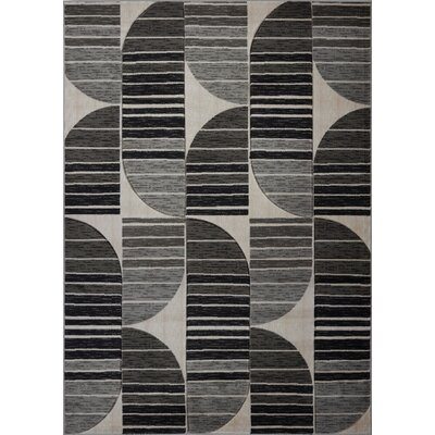 Volkman Gray/Black Area Rug Rug Size: Rectangle 65 x 95