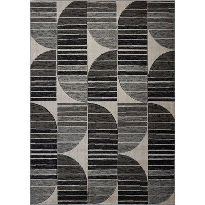 Volkman Gray/Black Area Rug Rug Size: 39 x 55