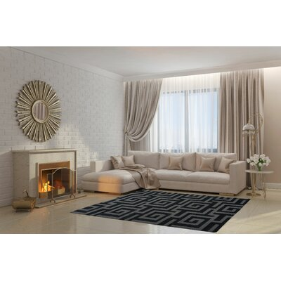 Raminez Gray/Black Area Rug Rug Size: Rectangle 27 x 411