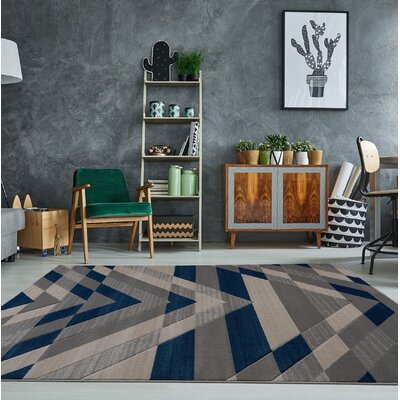 Ramage Gray/Blue Area Rug Rug Size: Rectangle 27 x 411
