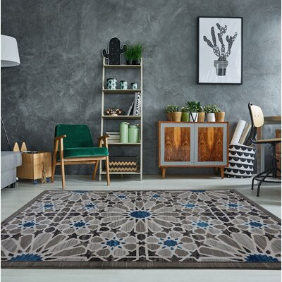 Aztec Falls Gray Area Rug Rug Size: Rectangle 65 x 95