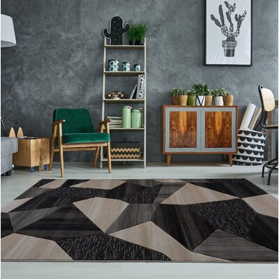 Ramage Black/Gray Area Rug Rug Size: 52 x 75