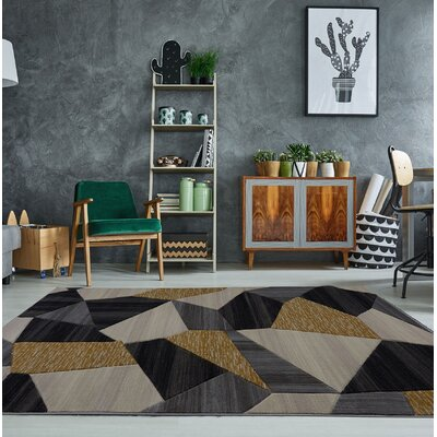 Ramage Modern Cream/Gold/Black Area Rug Rug Size: 27 x 10