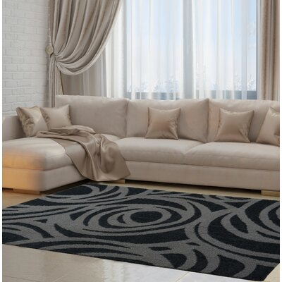 Ramm Gray/Black Area Rug Rug Size: 39 x 55