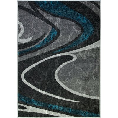 Spruill Spirals Turquoise/Dark Gray Area Rug Rug Size: Rectangle 53 x 76