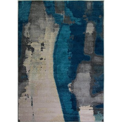 Crossett Marble Teal/Gray Area Rug Rug Size: Rectangle 53 x 76