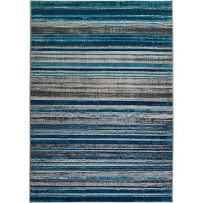 Crossett Stripes Teal/Gray Area Rug Rug Size: Runner 27 x 411